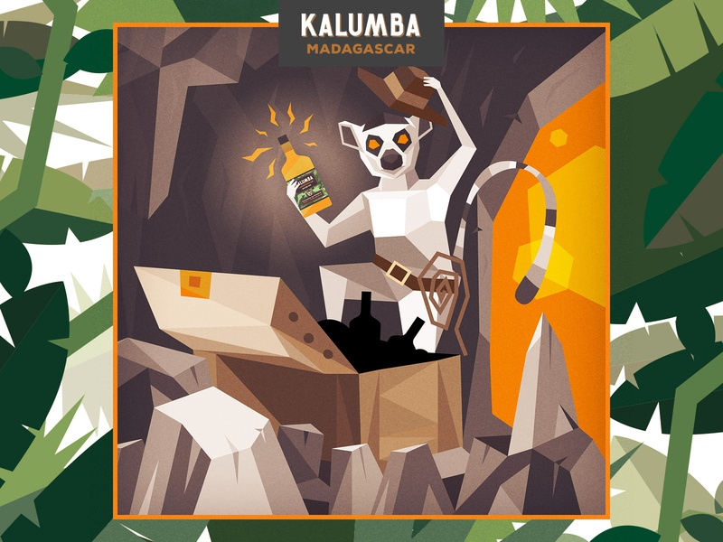 Kalumba explorer illustration flatdesign geometric cave treasure lemur monkey poligonal kalumba gin character illustration