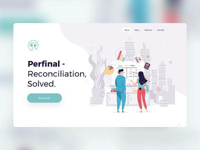 Perfinal - Reconciler UI design & Illustrations flatdesign flat charcters onepager website uxui ui illustration