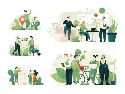 HighVibes illustrations plants green event web funny characterdesign character illustration