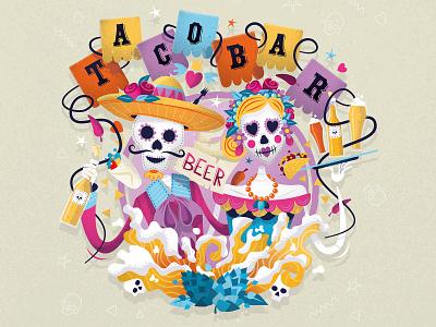 TACOBAR craft beer label illustration texture vector skeleton skull mexican taco craftbeer label illustration