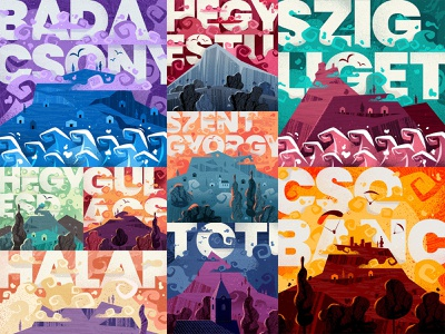 The volcanic hills of the Balaton Uplands design graphic art typography type vector textures balaton volcanic hills illustration