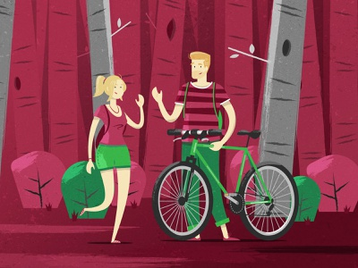 Skoda WLC Characters textures vector art flat bicycle trees forest cycling characterdesign character illustration