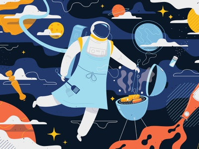 Space Pop kitchen illustration 👩🚀🚀🪐 floating flat space planets funny character illustration