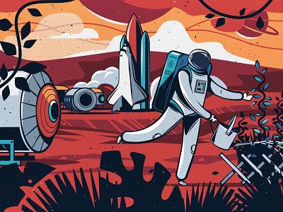 Hey Mars! kitchen illustration ink comic spaceship astronaut space art design flat character illustration