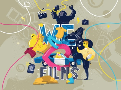 Friendly™ Wall Decor #1 film movies darthvader gorilla flat art character advertising funny illustration