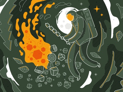 Hypermoon kitchen illustration vector planet plants astronaut flat line lineart campfire space character illustration