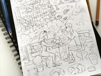 Coffee in Corniglia (sketch)
