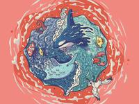 Sea Yin-Yang illustration