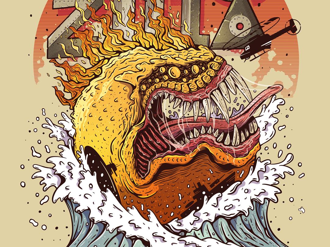 PAC-ZILLA illustration ipadproart procreate fire sunset greedy beast godzilla pacman characterdesign illustration