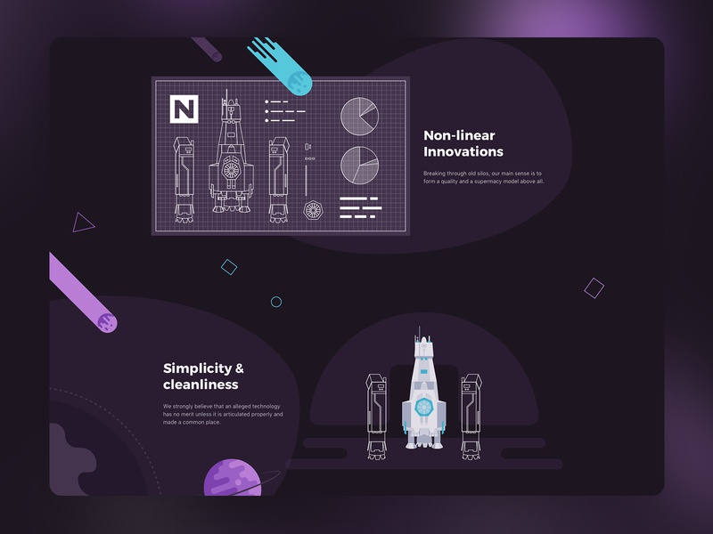 NLV8 Onepager illustrations landing website planet space flatdesign flat uidesign ui illustration