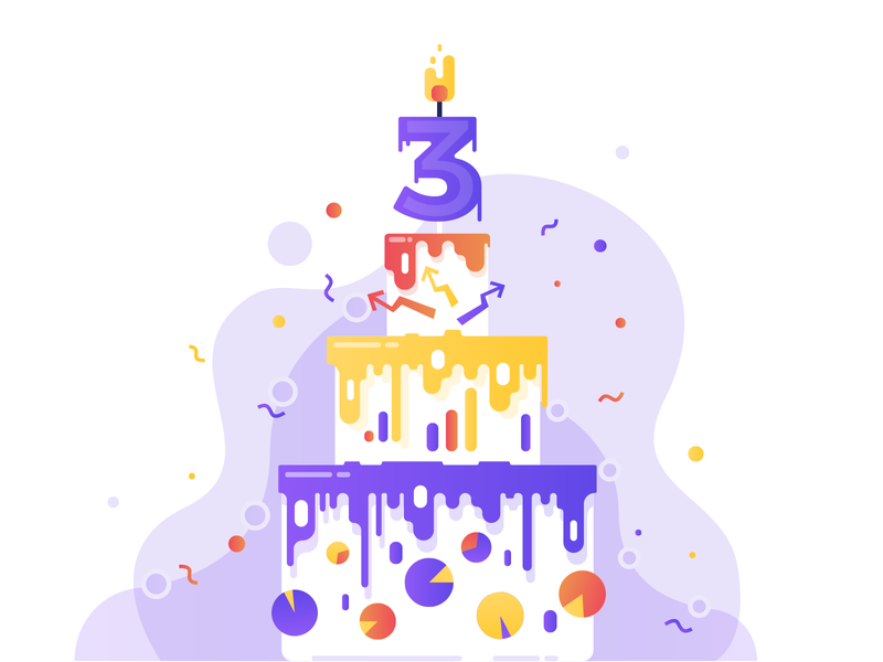 Birthday Cake illustration graphs charts floating funny ecommerce birthday flat flatdesign illustration