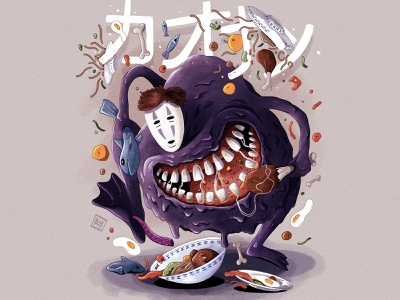 Hungry No-Face :) procreate digitalpainting digitalart noface chihiro spirit funny character characterdesign illustration