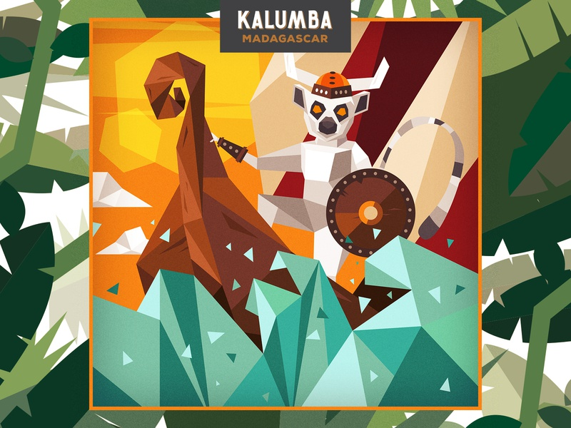 Kalumba Viking Illustration lemur gin kalumba character flat poligonal monkey madagascar viking funny illustration
