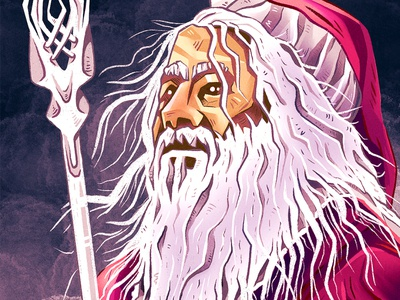 """Santalf"" is coming 😀🎅 portrait lord of the rings xmas santa gandalf procreate characterdesign character funny illustration"