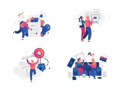 Herbert Illustrations funny floating flatdesign website startup realestate flat adobeillustrator characterdesign character illustration