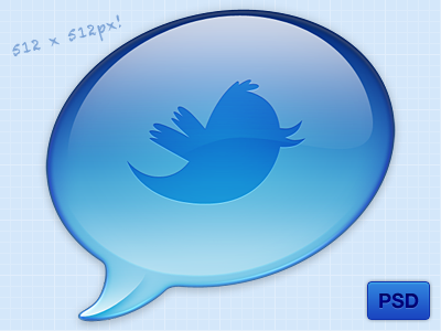 Twitter Icon PSD twitter icon psd bird blue bubble free 512 chat bubble