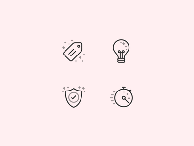 Icons light idea fast timer tick shield tag price bulb line icons