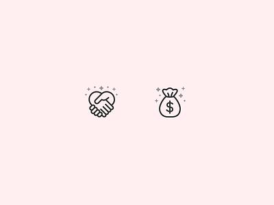 Icons bag dollar line glyph money hand handshake icons