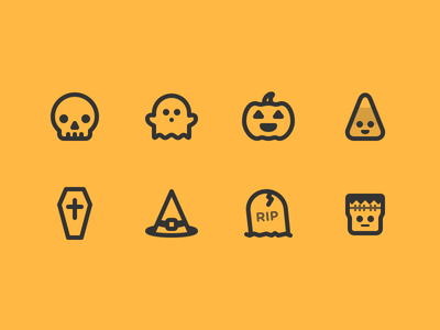 Halloween Icons grave hat coffin candy skull ghost pumpkin icons halloween