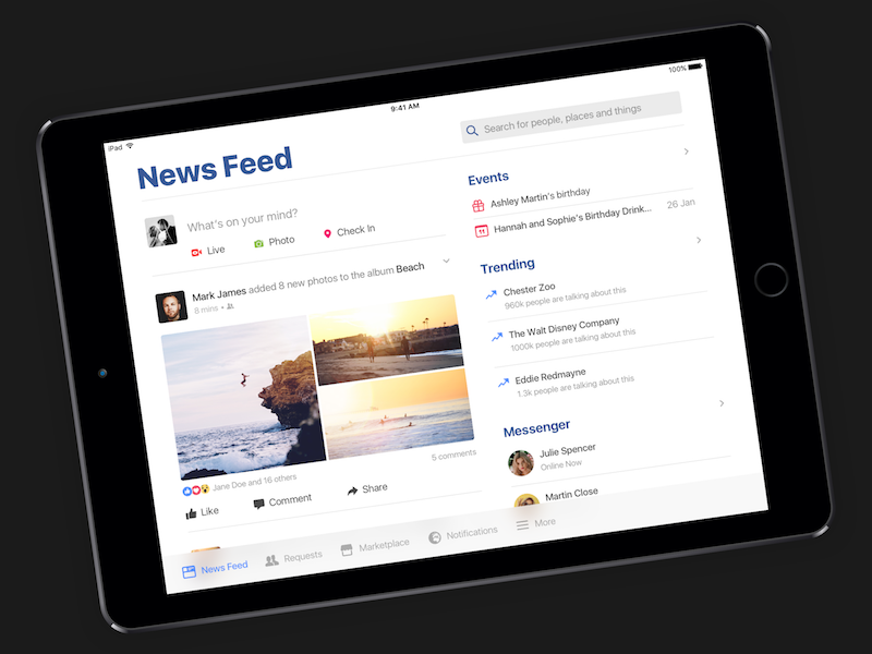 Facebook iOS 10 Style by Robbie Pearce on Dribbble