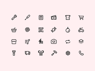 365 Icons (Progress) music phone money tools airpods black pink icons line