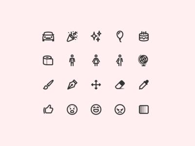 Over 300/365 cake icon line sketch emoji tools gender sparkle car icons