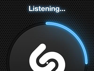 Listening... blue glow shazam texture speaker iphone ui