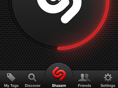 (SHAZAM)ᴿᴱᴰ shazam iphone ui black dark red blue tabbar tab bar nipple