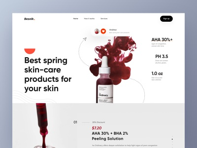 Skin care prodcut Landing Page landing page design uiux design uiux design agency besnik creative agency creative design agency besnik creative design besnik web site design skin care product product landing page one page website skin care landing page website design landing page
