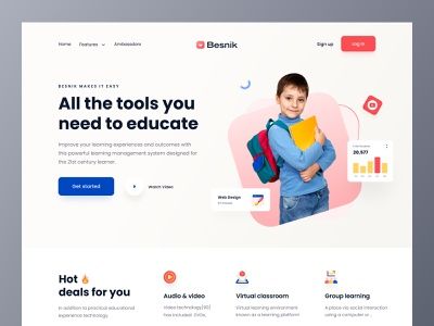 Kid Education Header UI. trend 2021 elearning website e learning education landing page education website design header design header ui header web ui web design landing page uiux design agency uiux design besnik