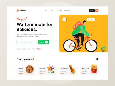Food Delivery Header Design. header design header ui design header ui header landing page resource landing page website resource free ui resource ui resource food ui food landing page food website food app food uxdesign ui design uihut besnik uiux design