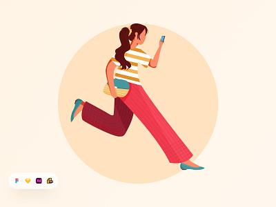 Girl Running Illustration. exercise illustration running illustration health illustration walking illustration trendy illustration modern illustration illustration landing page website design app design product design besnik uiux design agency uiux design