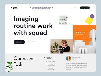 Squad -  Task Management Website homepage uihut task management header website design web design website