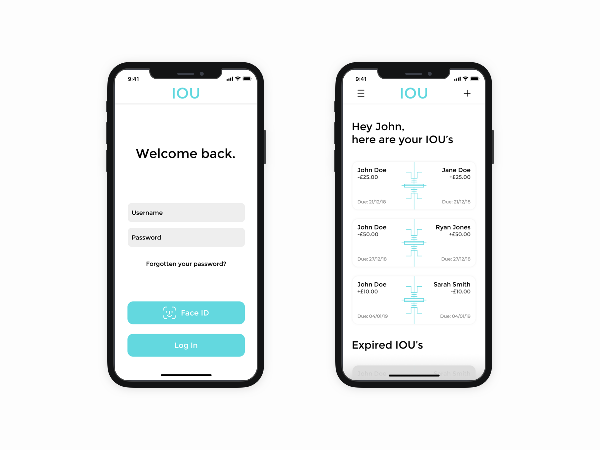 IOU App - Final Design project university ui shadow ios experience clean app sketch user interface design