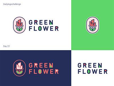 Green Flower logo dailylogo logotype illustration logo vector dailylogochallenge typo illustrator graphic design