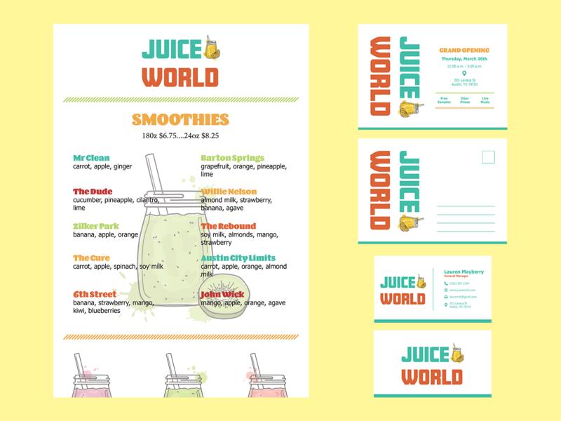 juice world (logo, menu, business card, postcard) indesign graphic design smoothie menu menu design postcard business card logo adobe illustrator vector design branding