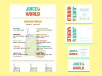 juice world (logo, menu, business card, postcard)