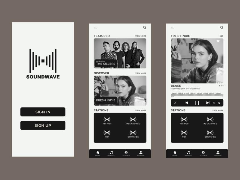SOUNDWAVE Music App Concept concept typography ui design music music player music app app design app sketch app ux ui web vector design