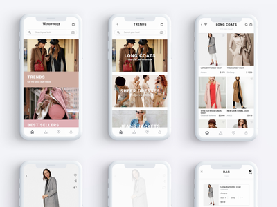 Trend Finder app minimal mobile uiux online store shopping app marketplace ecommerce fashion app fashion ui app screens
