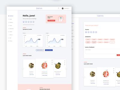 Saana user page redesign minimal wireframe visual design creative studio dashboard healthcare health mobile desktop user page website ui design uidesign