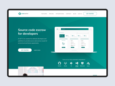Codekeeper landing page desktop product design ux tech ui website landing page