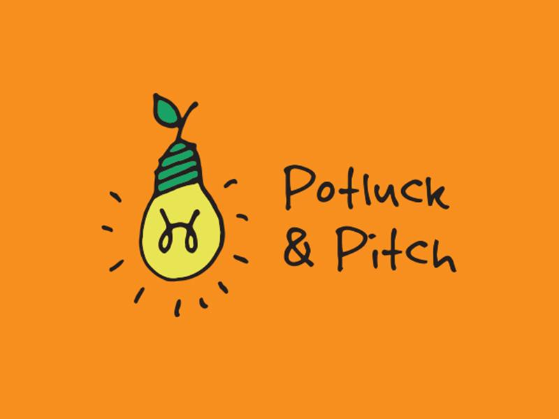 Potluck & Pitch handdrawn pun visual design graphic logo pitch and potluck