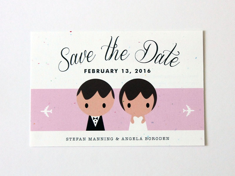 Save the Date Postcard graphic design design wedding travel figures postcard save the date