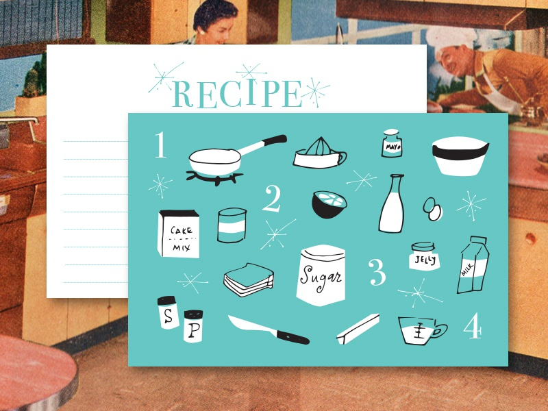 1950s Inspired Recipe Cards aqua cards recipe cooking kitchen illustrations vintage retro 1950