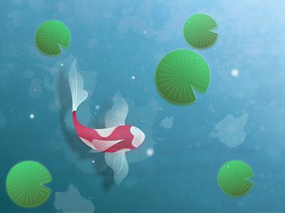 fish light green red dribbble blue water fish illustrator sea river lotus