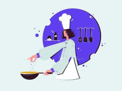 👩🏼‍🍳 Cooking Time bottle apron spices kitchen skimmer woman chef hat illutration yellow blue food cooking cook chef dribbble design girl vector illustrator