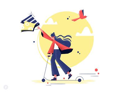 Let's go shopping! store shop e commerce shopping scooter boarding scooter bird design illustration girl dribbble vector illustrator