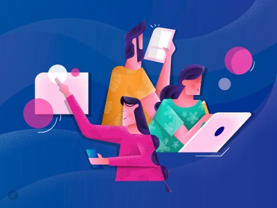 Cooperation flowers texture noise circle tablet character group teams team cooperate cooperation teamwork hair boy blue dribbble design girl vector illustrator