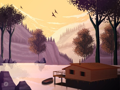 Cabin On The Lake lake mountain rocks shadows cabin sunset cloud birds boat tree trees leaf illustration designer design vector dribbble illustrator