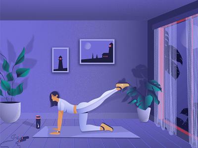 exercise nike moon sport room floor rope picture frame mat window curtain leaf flower design designer girl dribbble vector illustrator